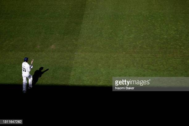 Dane Vilas of Lancashire walks out to bat at Emirates Old Trafford on April 09, 2021 in Manchester, England. Sporting stadiums around the UK remain...