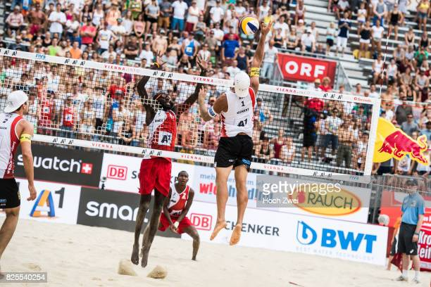 Daneil Williams of Trinidad/Tobago competes against Thomas Kunert of Austria during Day 6 of the FIVB Beach Volleyball World Championships 2017 on...