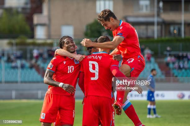 Danel Sinani of Luxembourg celebrates after scoring his team's second goal with teammates during the UEFA Nations League group stage match between...