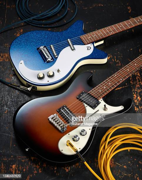 Danelectro 60th Anniversary 59M NOS+ electric guitar with a Deep Blue Metalflake finish and a Danelectro 64XT electric guitar with a 3-Tone Sunburst...