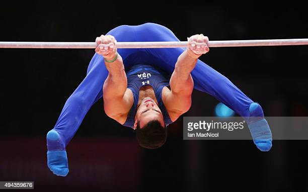 Danell Levya of United States competes on the High Bars during day four of World Artistic Gymnastics Championships at The SSE Hydro on October 26...