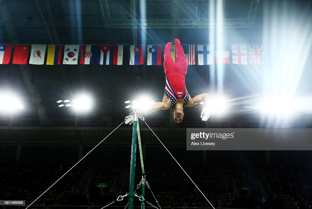 Danell Leyva of the United States competes on the horizontal bar during the men's team final on Day 3 of the Rio 2016 Olympic Games at the Rio Olympic Arena on August 8, 2016 in Rio de Janeiro, Brazil.