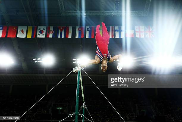 Danell Leyva of the United States competes on the horizontal bar during the men's team final on Day 3 of the Rio 2016 Olympic Games at the Rio...