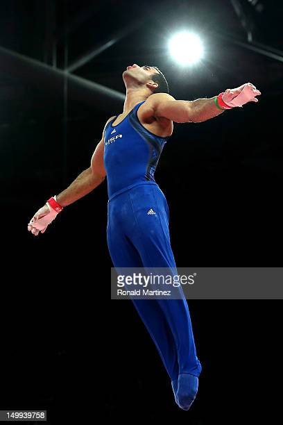Danell Leyva of the United States of America competes during the Artistic Gymnastics Men's Horizontal Bar final on Day 11 of the London 2012 Olympic...