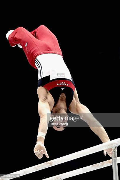 Danell Leyva of the USA competes in the Men's Parallel bars final during day ten of the Artistic Gymnastics World Championships Tokyo 2011 at Tokyo...