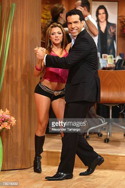 Danella Urbay and Felipe Viel appear on the new set of Escandalo TV for their 5th Anniversay episode on January 22 2007 in Miami Florida