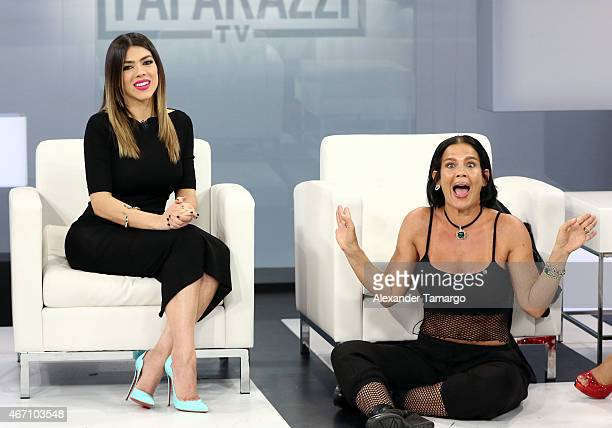 Danella Urbay and Niurka Marcos are seen on the set of Paparazzi TV at MegaTV studios on March 20 2015 in Miami Florida