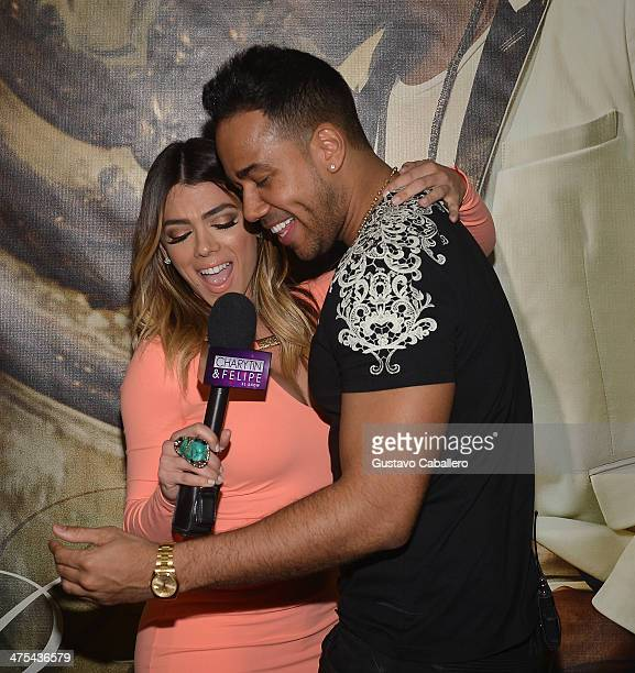 Danella Urbay and Singer Romeo Santos attends his meets and greets fans at Walmart on February 27 2014 in Miami Florida