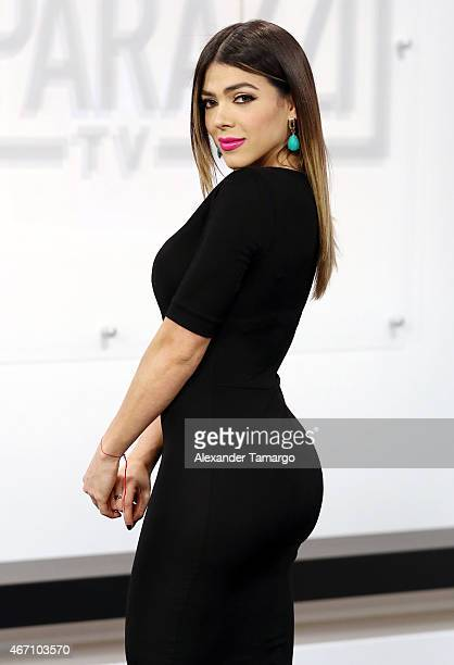 Danella Urbay is seen on the set of Paparazzi TV at MegaTV studios on March 20 2015 in Miami Florida