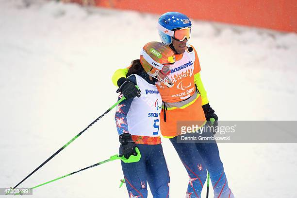 Danelle Umstead of the United States and guide Robert Umsteadafter competing in the Women's Slalom 1st Run - Visually Impaired during day five of...