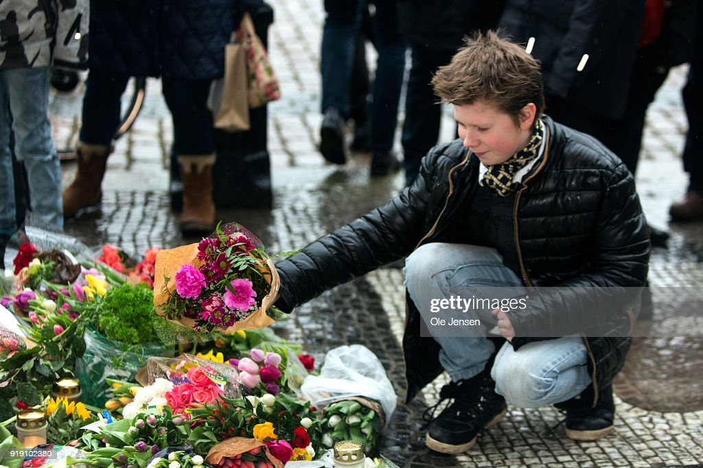 Danes Lay Flowers At The Amalienborg Palace In Tribute to Prince Henrik