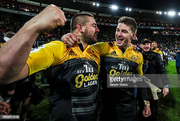 Danes Coles and Beauden Barrett of the Hurricanes celebrate winning the 2016 Super Rugby Final match between the Hurricanes and the Lions at Westpac...