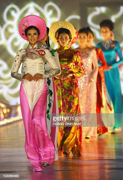 Dang Thi Ngoc Han a model who was crowded Miss Vietnam 2010 parades in a traditional dress 'ao dai' during the final of Vietnam's national beauty...