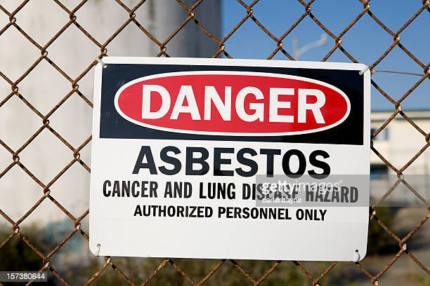 danger asbestos warning sign - warning sign stock pictures, royalty-free photos & images