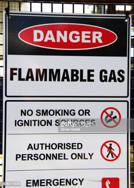 danger flammable gas sign - flammable stock photos and pictures