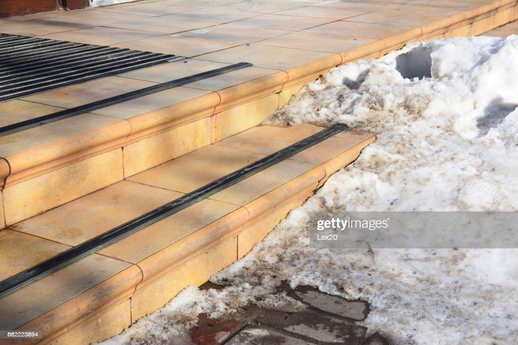 Ice Covered Slippery Stair Case. Slippery Walkway With Ice And Snow