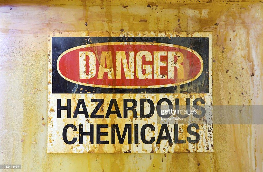 Danger Hazardous Chemicals Sign on a Barrel : Stock Photo