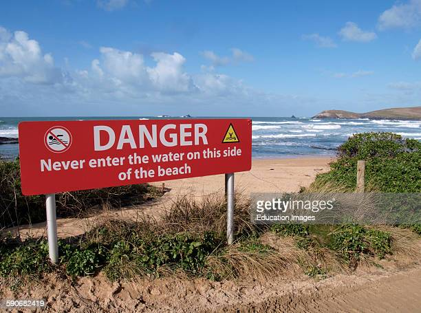 Danger no swimming sign Booby's Bay Cornwall UK