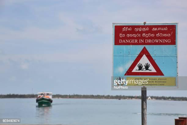 'Danger of Drowning' sign at Kurikadduvan Harbour in Northern Sri Lanka