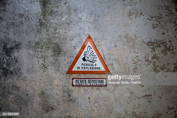 Danger of explosion sign on the wall