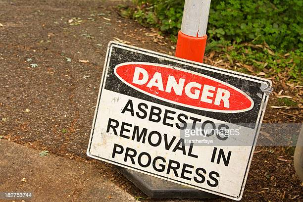 danger  sign, asbestos removal in progress - absence stock pictures, royalty-free photos & images