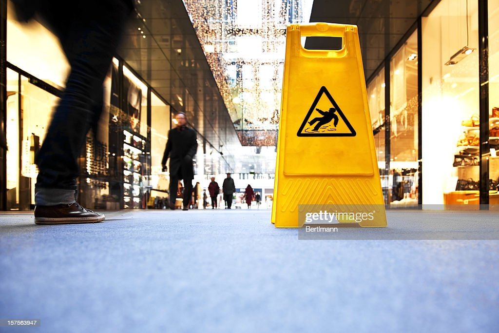 danger sign in a shopping mall : Stock Photo
