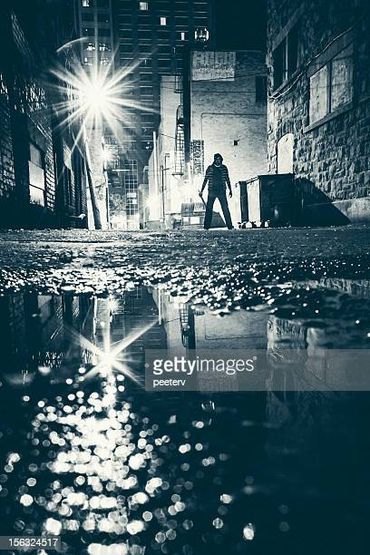 dangerous alley. - gang stock pictures, royalty-free photos & images