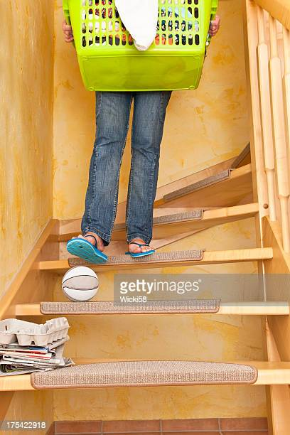 dangerous ball on stairs - steps stock pictures, royalty-free photos & images