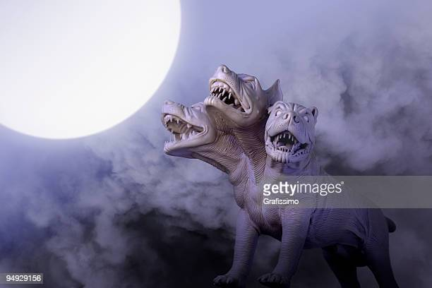 Dangerous dog with three heads at night