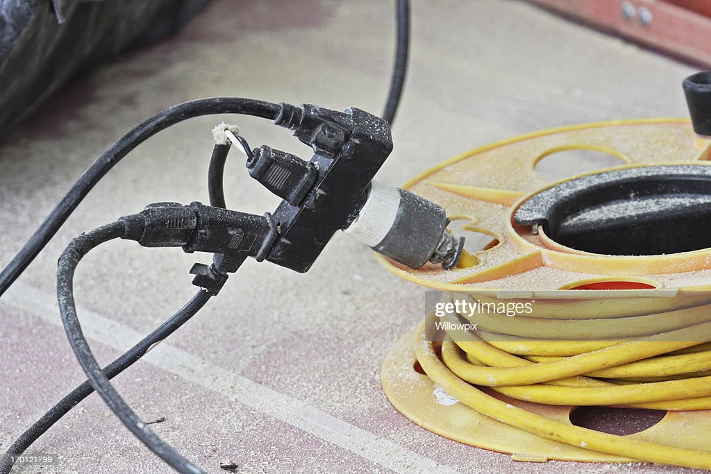 Dangerous Electric Power Extension Cords : Stock Photo