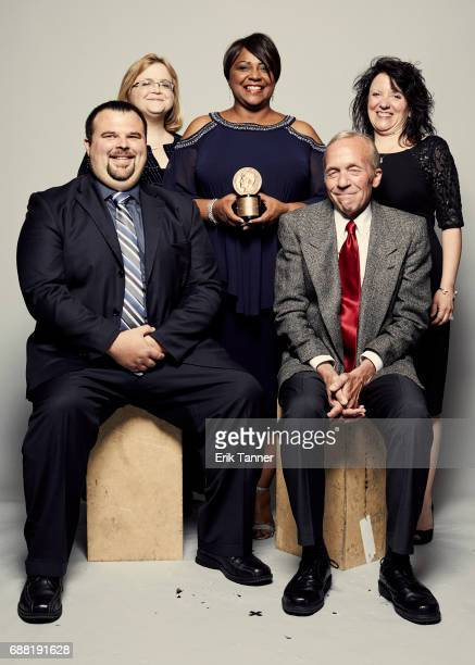 Dangerous Exposures team Ryan Thedwall Susan Batt Sandra Chapman Bill Ditton and Kathy Hostetter are photographed at the 76th Annual Peabody Awards...