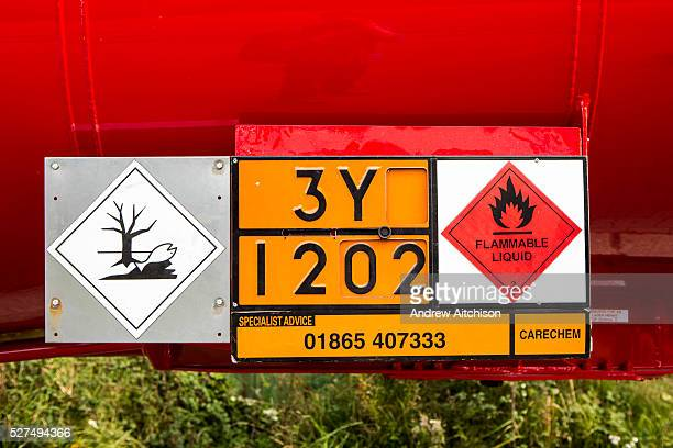 A Dangerous for the environment hazard storage sign on the side of a petrochemical lorry The European Agreement concerning the International Carriage...