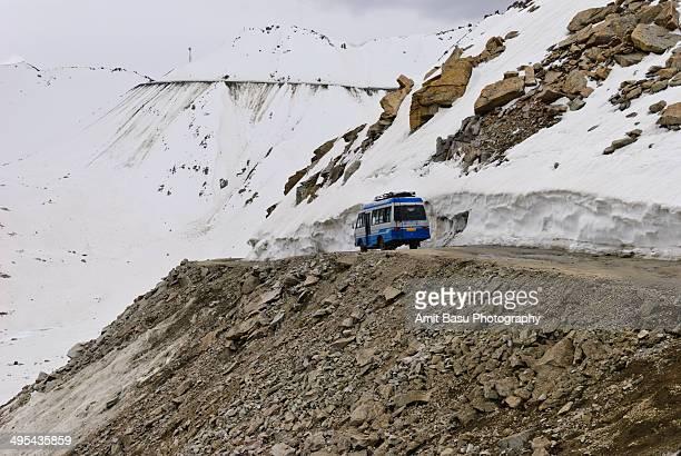 Dangerous mountain road. Khardung La Ladakh, India