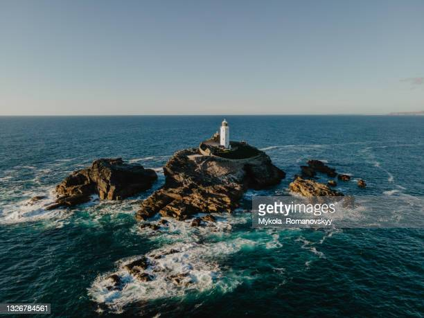 dangerous riffs surround the godrevy island in the wavy st ives bay - europe stock pictures, royalty-free photos & images
