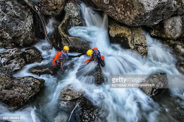 Dangerous waterfall crossing