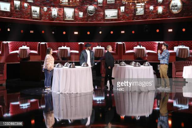 "Danger's My Middle Game"" Episode 405 -- Pictured: Karen Rodriguez, Stephen ""tWitch"" Boss, Ellen DeGeneres, Brady Livingston --"