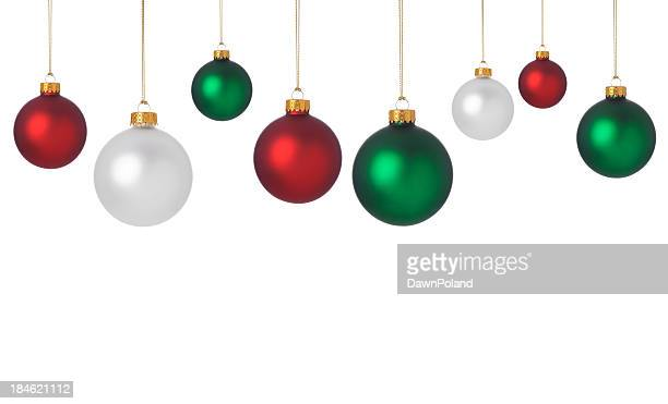Dangling red, green, and white Christmas ornaments
