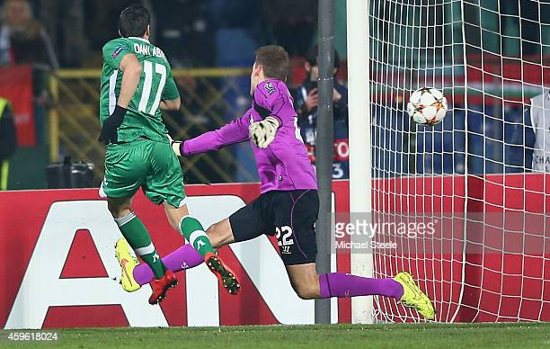 Dani Abalo of Ludogerets scores the opening goal during the UEFA Champions League Group B match between Ludogorets Razgrad and Liverpool at the Vasil...