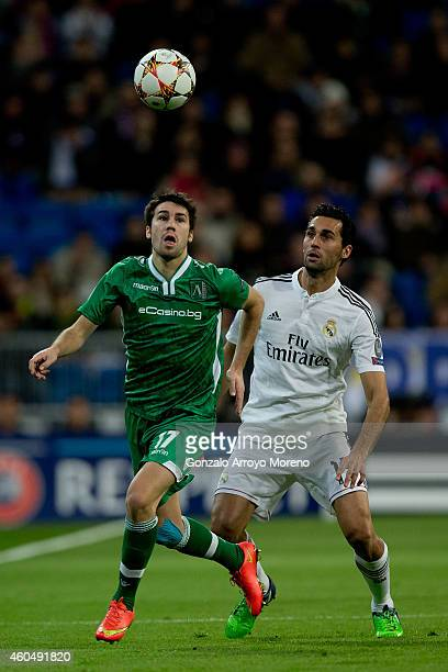 Dani Abalo of PFC Ludogorets Razgrad competes for the ball with Alvaro Arbeloa of Real Madrid CF during the UEFA Champions League Group B match...