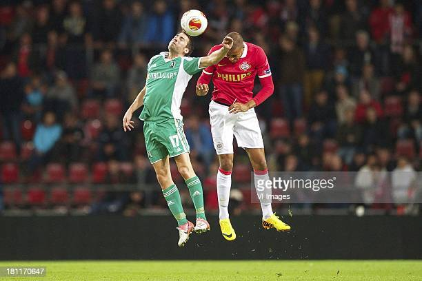 Dani Abalo of PFK Ludogorets 1945, Mathias Zanka Jorgensen of PSV during the Europa League match between PSV and PFK Ludogorets 1945 at Philips...