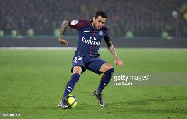 Dani Alves aka Daniel Alves of PSG during the French Ligue 1 match between FC Nantes and Paris Saint Germain at Stade de la Beaujoire on January 14...