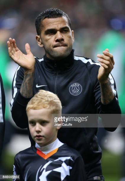 Dani Alves aka Daniel Alves of PSG during the UEFA Champions League match between Celtic Glasgow and Paris Saint Germain at Celtic Park on September...