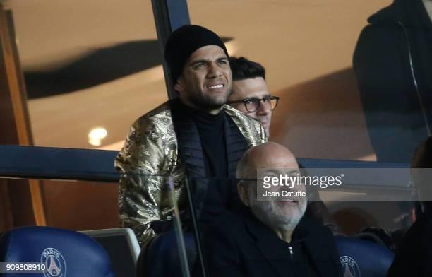 Dani Alves aka Daniel Alves, Thiago Motta attend the French National Cup match between Paris Saint Germain and En Avant Guingamp at Parc des Princes...