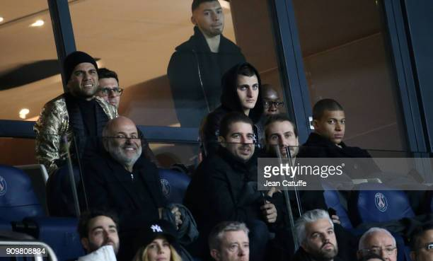 Dani Alves aka Daniel Alves Thiago Motta Marco Verratti Lassana Diarra Kylian Mbappe of PSG attend the French National Cup match between Paris Saint...