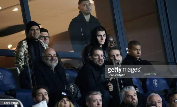 Dani Alves aka Daniel Alves, Thiago Motta, Marco Verratti, Lassana Diarra, Kylian Mbappe of PSG attend the French National Cup match between Paris...