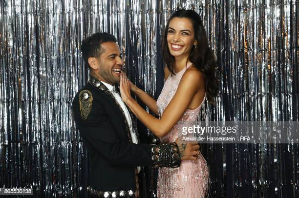 Dani Alves and his wife Joana Sanz is pictured inside the photo booth prior to The Best FIFA Football Awards at The London Palladium on October 23...