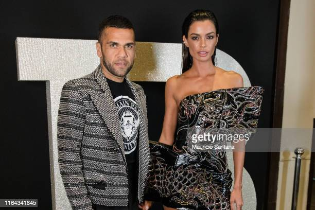 Dani Alves and Joana Sanz attend the Balmain party at Cidade Jardim Shopping on August 26 2019 in Sao Paulo Brazil