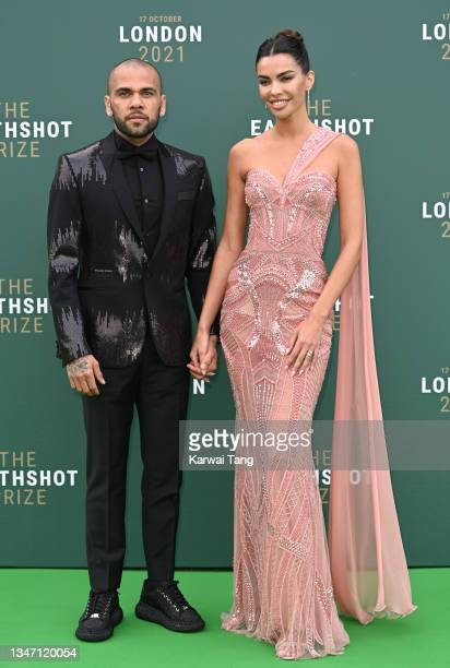 Dani Alves and Joana Sanz attend the Earthshot Prize 2021 at Alexandra Palace on October 17, 2021 in London, England.