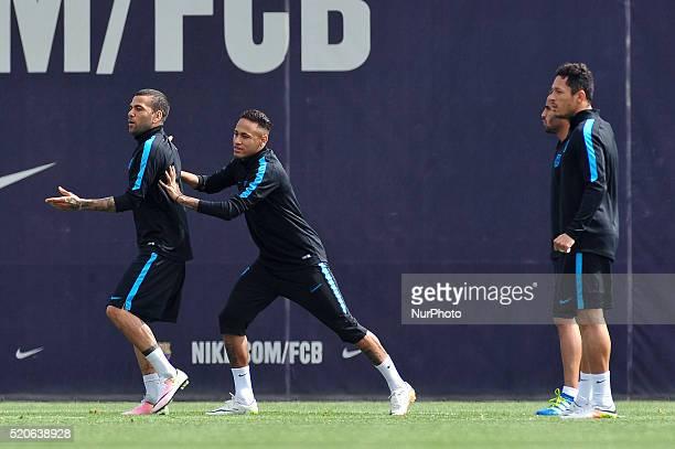 Dani Alves and Neymar Jr of FCBarcelona jogging during FCBarcelona training session before Club Atltico de Madris vs FC Barcelona UEFA Champions...