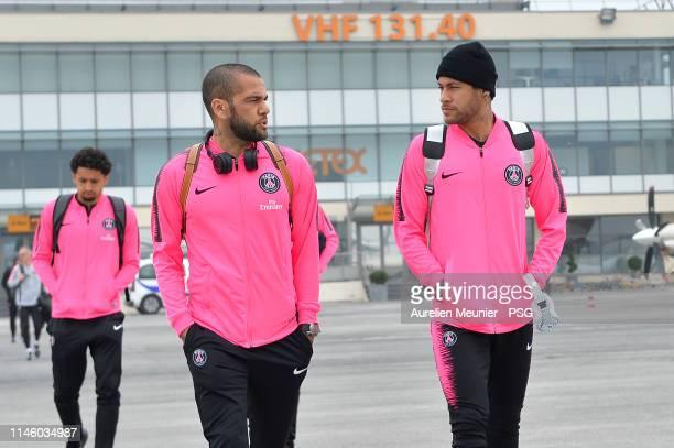 Dani Alves and Neymar Jr of Paris Saint-Germain travel to Montpellier for the Ligue 1 match between Paris Saint-Germain and Montpellier HSC on April...